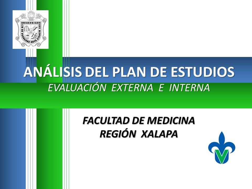 FACULTAD DE MEDICINA REGIÓN XALAPA ANÁLISIS DEL PLAN DE ESTUDIOS EVALUACIÓN EXTERNA E INTERNA