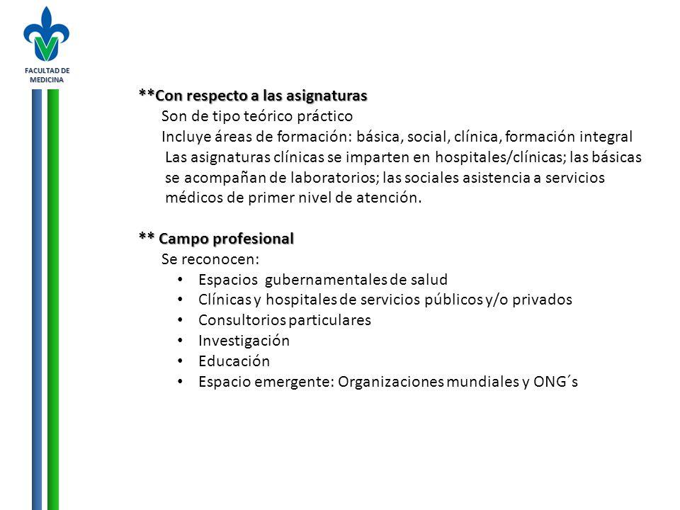 FACULTAD DE MEDICINA **Con respecto a las asignaturas Son de tipo teórico práctico Incluye áreas de formación: básica, social, clínica, formación inte