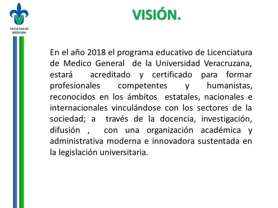 FACULTAD DE MEDICINA VISIÓN. En el año 2018 el programa educativo de Licenciatura de Medico General de la Universidad Veracruzana, estará acreditado y
