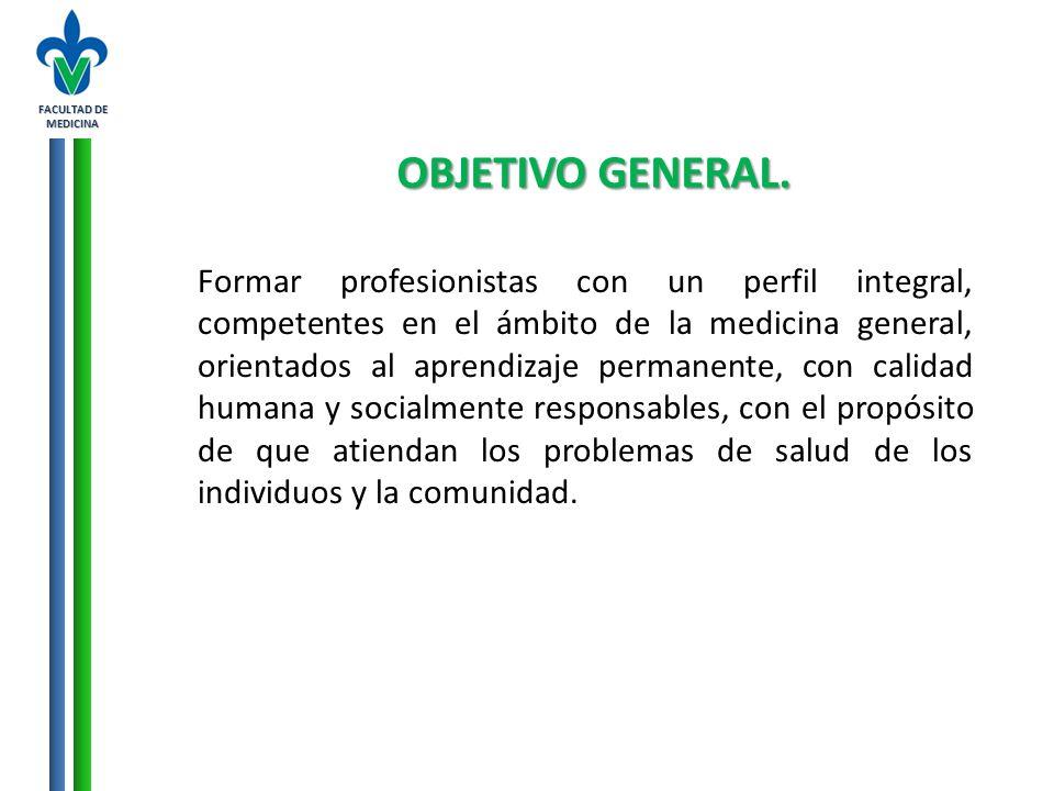 FACULTAD DE MEDICINA OBJETIVO GENERAL. Formar profesionistas con un perfil integral, competentes en el ámbito de la medicina general, orientados al ap