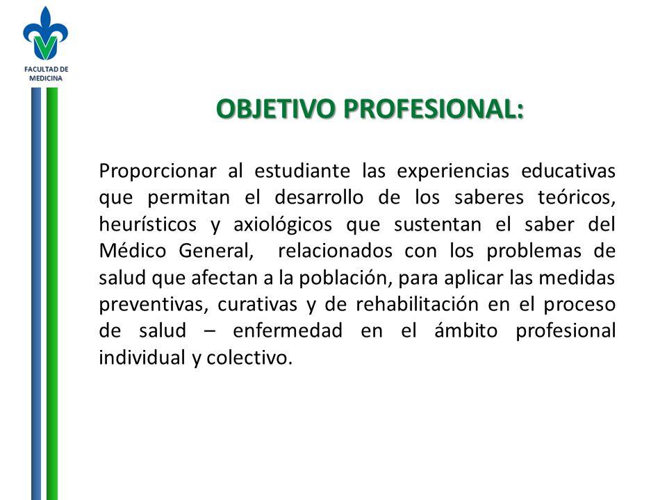 FACULTAD DE MEDICINA OBJETIVO PROFESIONAL: Proporcionar al estudiante las experiencias educativas que permitan el desarrollo de los saberes teóricos,