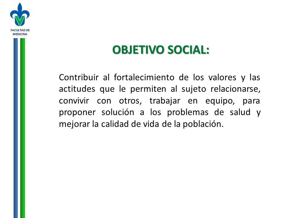 FACULTAD DE MEDICINA OBJETIVO SOCIAL: Contribuir al fortalecimiento de los valores y las actitudes que le permiten al sujeto relacionarse, convivir co