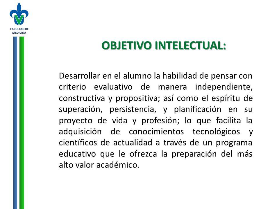 FACULTAD DE MEDICINA OBJETIVO INTELECTUAL: Desarrollar en el alumno la habilidad de pensar con criterio evaluativo de manera independiente, constructi