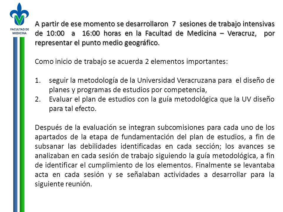 FACULTAD DE MEDICINA A partir de ese momento se desarrollaron 7 sesiones de trabajo intensivas de 10:00 a 16:00 horas en la Facultad de Medicina – Ver