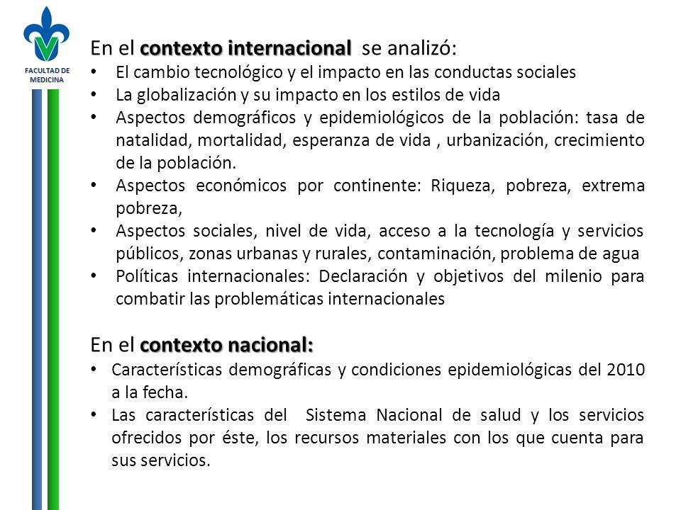 FACULTAD DE MEDICINA contexto internacional En el contexto internacional se analizó: El cambio tecnológico y el impacto en las conductas sociales La g