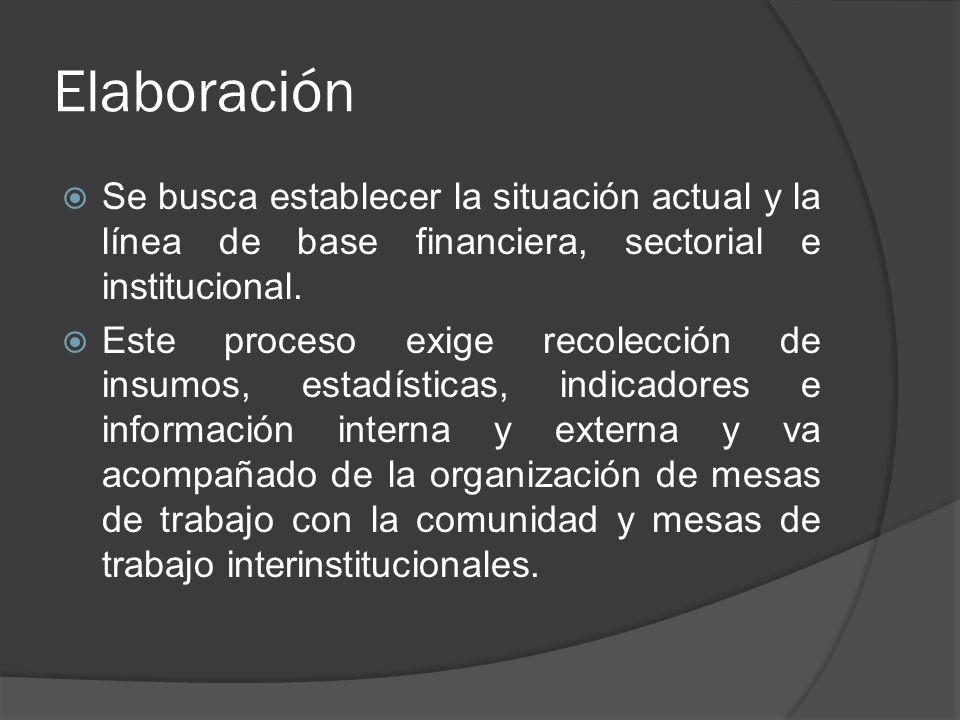 Elaboración Se busca establecer la situación actual y la línea de base financiera, sectorial e institucional. Este proceso exige recolección de insumo