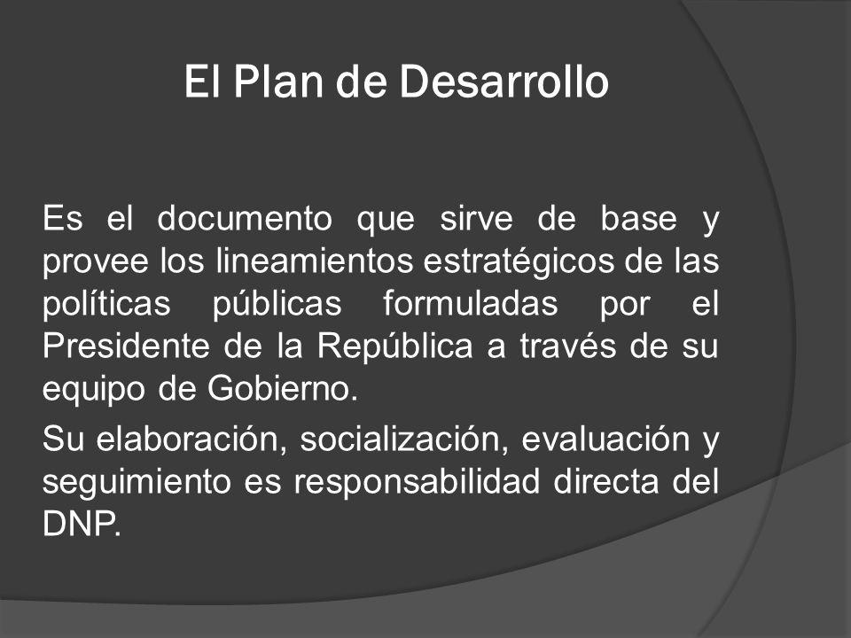 El Plan de Desarrollo Es el documento que sirve de base y provee los lineamientos estratégicos de las políticas públicas formuladas por el Presidente
