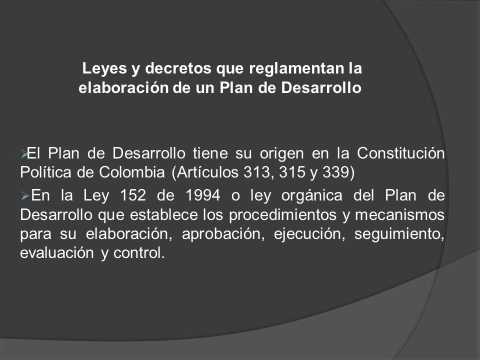 Leyes y decretos que reglamentan la elaboración de un Plan de Desarrollo El Plan de Desarrollo tiene su origen en la Constitución Política de Colombia