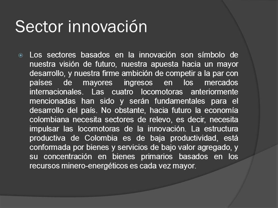 Sector innovación Los sectores basados en la innovación son símbolo de nuestra visión de futuro, nuestra apuesta hacia un mayor desarrollo, y nuestra