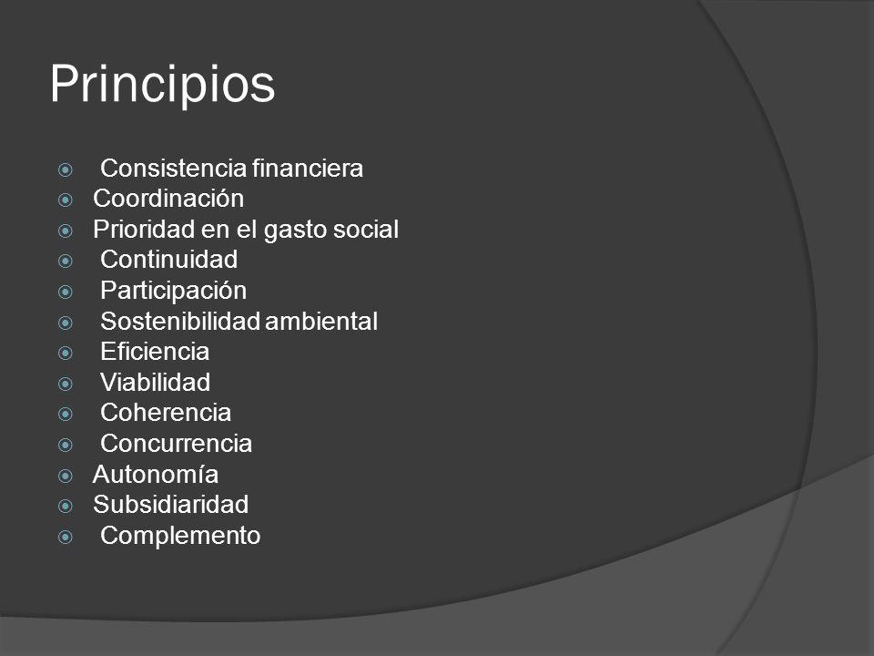 Principios Consistencia financiera Coordinación Prioridad en el gasto social Continuidad Participación Sostenibilidad ambiental Eficiencia Viabilidad