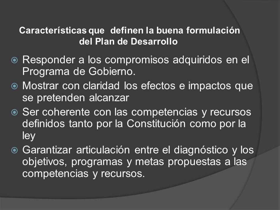 Características que definen la buena formulación del Plan de Desarrollo Responder a los compromisos adquiridos en el Programa de Gobierno. Mostrar con