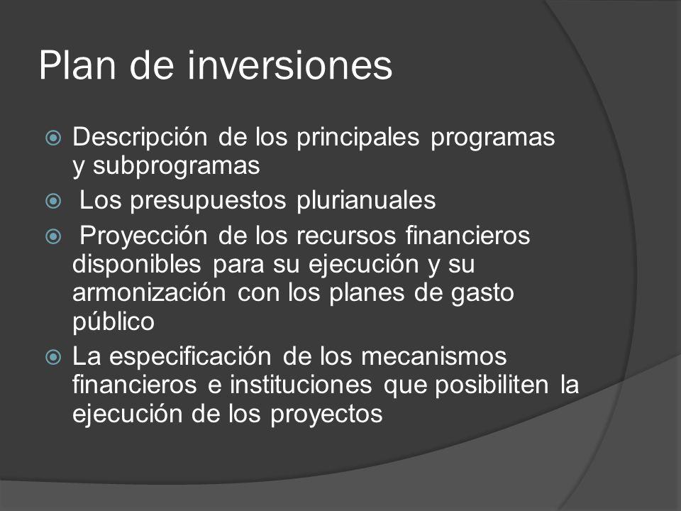 Plan de inversiones Descripción de los principales programas y subprogramas Los presupuestos plurianuales Proyección de los recursos financieros dispo