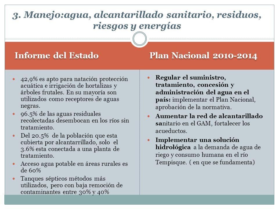 Plan Nacional 2010-2014 Informe del Estado Regular el suministro, tratamiento, concesión y administración del agua en el país: implementar el Plan Nac