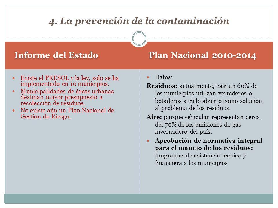 Plan Nacional 2010-2014 Informe del Estado Datos: Residuos: actualmente, casi un 60% de los municipios utilizan vertederos o botaderos a cielo abierto