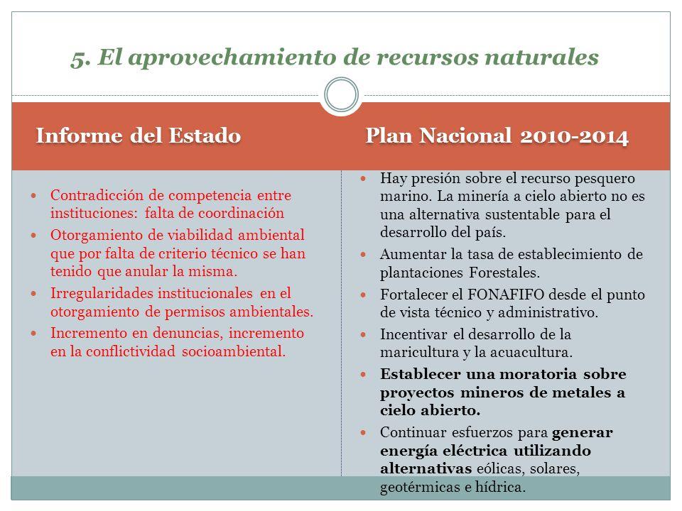 Plan Nacional 2010-2014 Informe del Estado Hay presión sobre el recurso pesquero marino. La minería a cielo abierto no es una alternativa sustentable