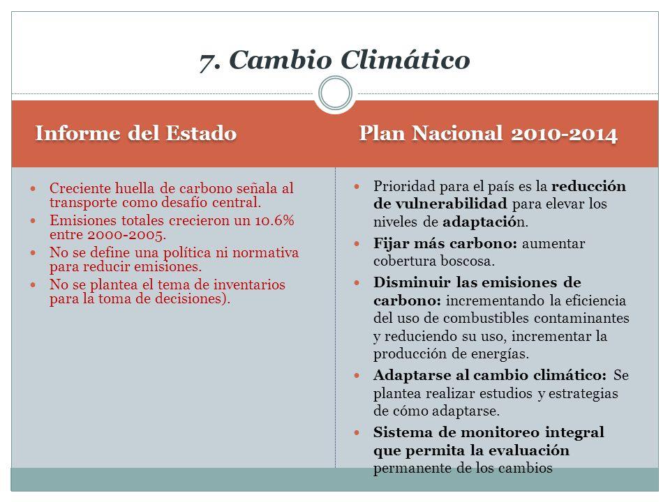 Plan Nacional 2010-2014 Informe del Estado Prioridad para el país es la reducción de vulnerabilidad para elevar los niveles de adaptación. Fijar más c