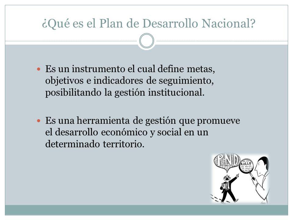 ¿Qué es el Plan de Desarrollo Nacional? Es un instrumento el cual define metas, objetivos e indicadores de seguimiento, posibilitando la gestión insti