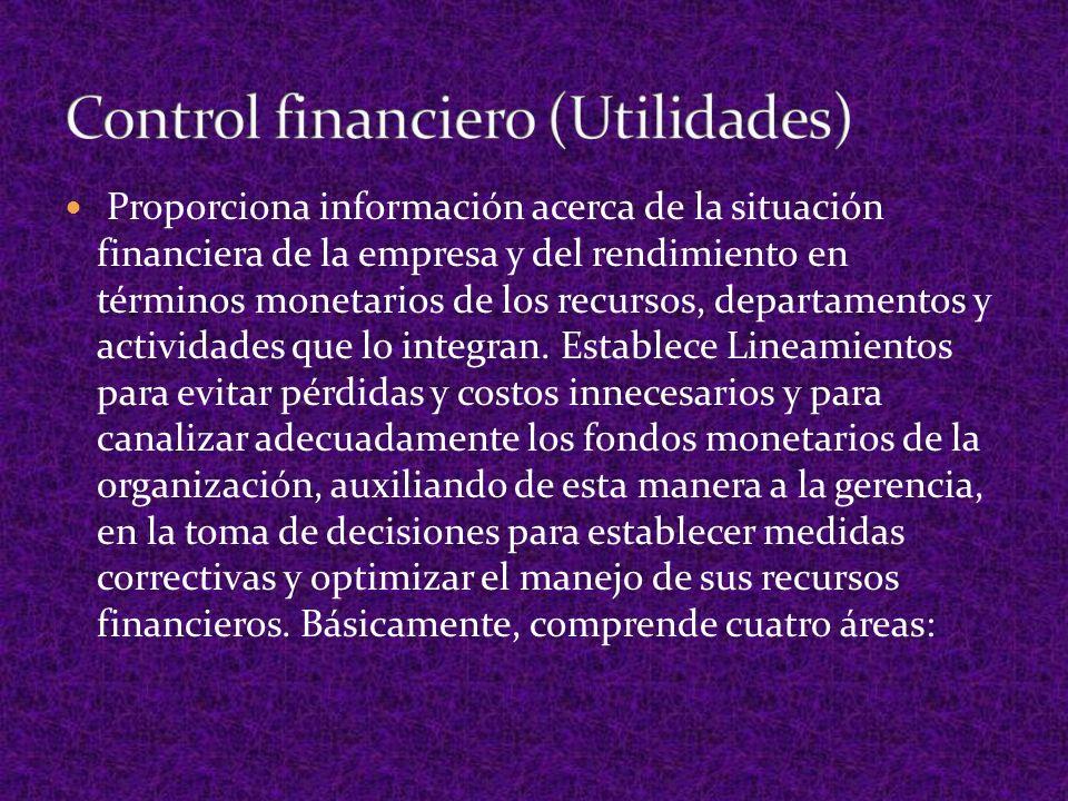 1.- Control Presupuestal 2.- Control contable 3.- Control de costos