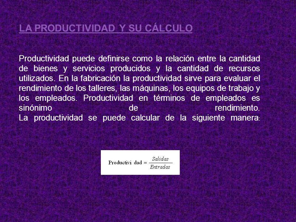 LA PRODUCTIVIDAD Y SU CÁLCULO Productividad puede definirse como la relación entre la cantidad de bienes y servicios producidos y la cantidad de recur