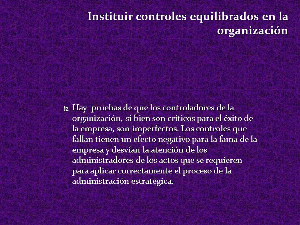 Instituir controles equilibrados en la organización Hay pruebas de que los controladores de la organización, si bien son críticos para el éxito de la