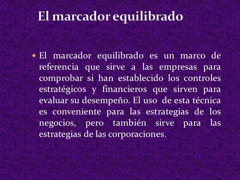 El marcador equilibrado es un marco de referencia que sirve a las empresas para comprobar si han establecido los controles estratégicos y financieros