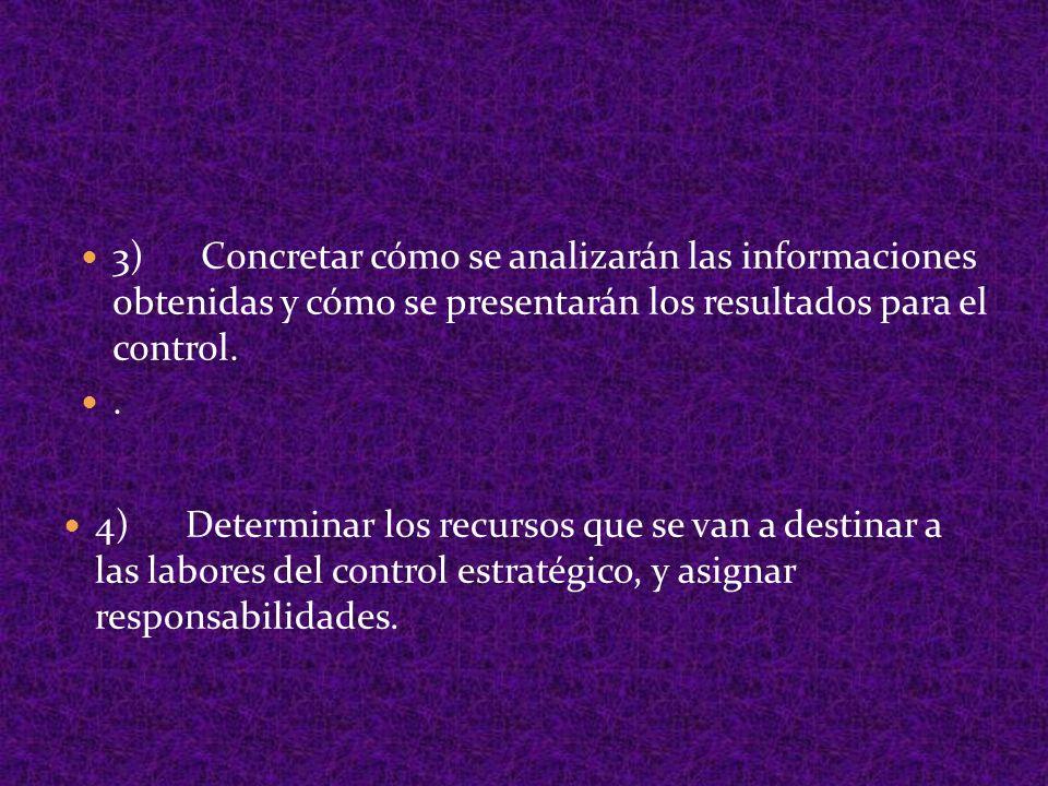 3) Concretar cómo se analizarán las informaciones obtenidas y cómo se presentarán los resultados para el control.. 4) Determinar los recursos que se v