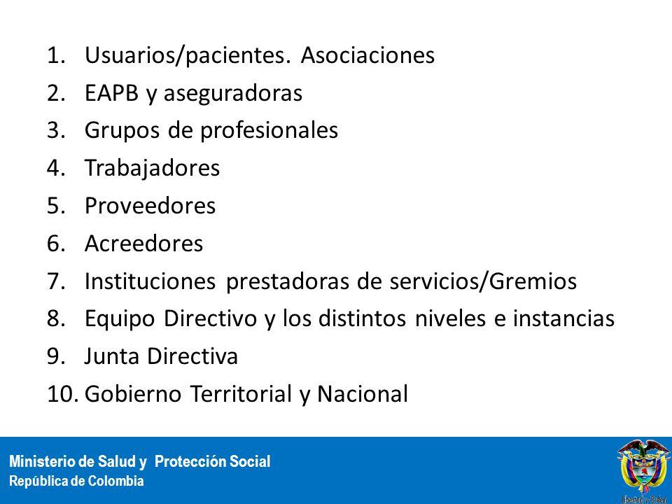 Ministerio de Salud y Protección Social República de Colombia 1.Usuarios/pacientes. Asociaciones 2.EAPB y aseguradoras 3.Grupos de profesionales 4.Tra