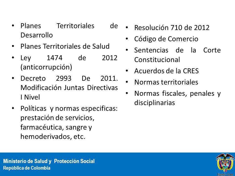 Ministerio de Salud y Protección Social República de Colombia Resolución 710 de 2012 Código de Comercio Sentencias de la Corte Constitucional Acuerdos
