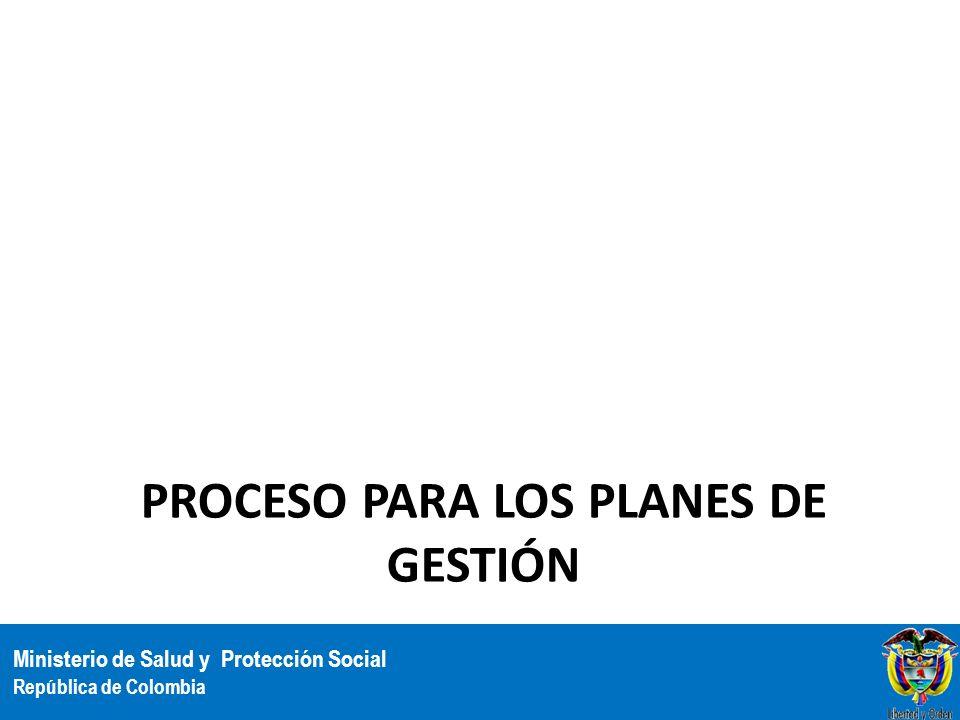 Ministerio de Salud y Protección Social República de Colombia PROCESO PARA LOS PLANES DE GESTIÓN