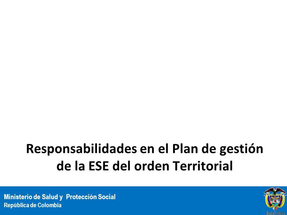 Ministerio de Salud y Protección Social República de Colombia Responsabilidades en el Plan de gestión de la ESE del orden Territorial