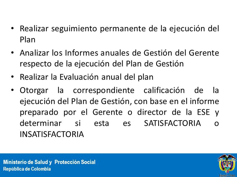 Ministerio de Salud y Protección Social República de Colombia Realizar seguimiento permanente de la ejecución del Plan Analizar los Informes anuales d