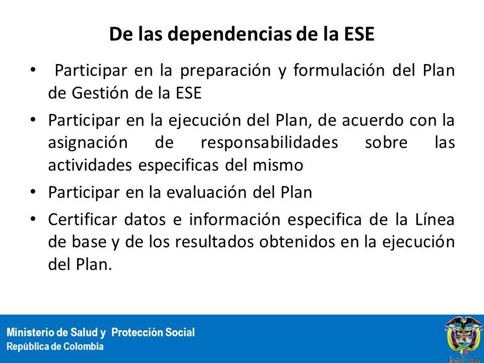 Ministerio de Salud y Protección Social República de Colombia De las dependencias de la ESE Participar en la preparación y formulación del Plan de Ges