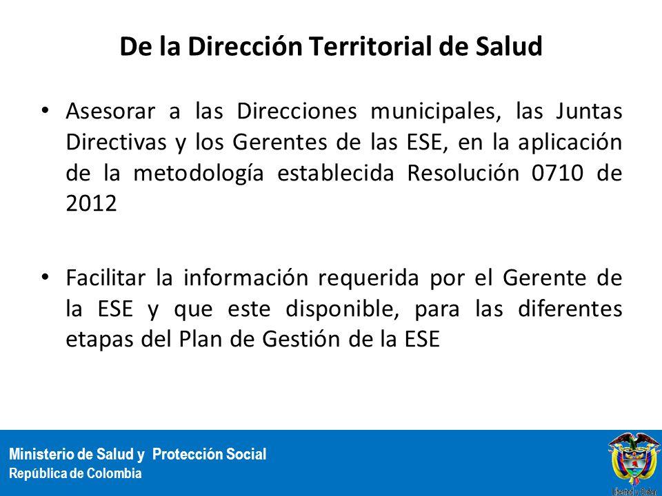 Ministerio de Salud y Protección Social República de Colombia De la Dirección Territorial de Salud Asesorar a las Direcciones municipales, las Juntas