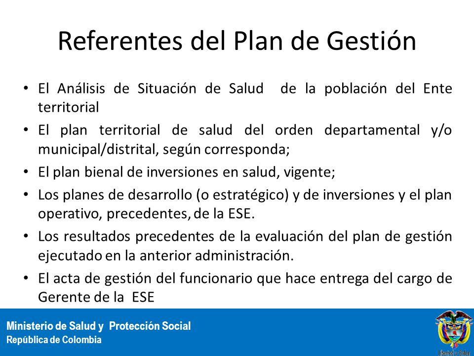 Ministerio de Salud y Protección Social República de Colombia Referentes del Plan de Gestión El Análisis de Situación de Salud de la población del Ent