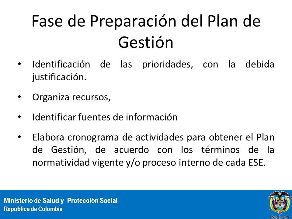 Ministerio de Salud y Protección Social República de Colombia Fase de Preparación del Plan de Gestión Identificación de las prioridades, con la debida
