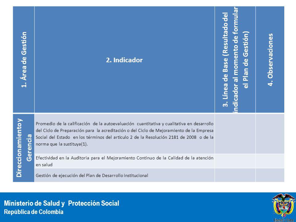 Ministerio de Salud y Protección Social República de Colombia 1. Área de Gestión 2. Indicador 3. Línea de Base (Resultado del indicador al momento de
