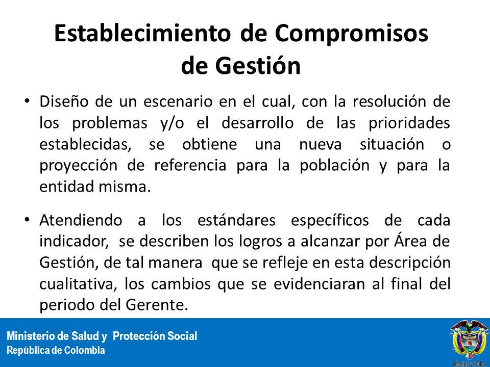 Ministerio de Salud y Protección Social República de Colombia Establecimiento de Compromisos de Gestión Diseño de un escenario en el cual, con la reso