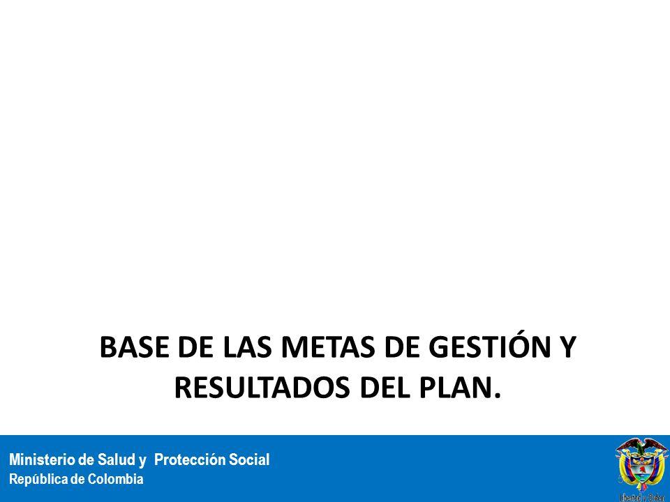 Ministerio de Salud y Protección Social República de Colombia BASE DE LAS METAS DE GESTIÓN Y RESULTADOS DEL PLAN. 55
