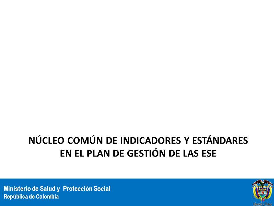 Ministerio de Salud y Protección Social República de Colombia NÚCLEO COMÚN DE INDICADORES Y ESTÁNDARES EN EL PLAN DE GESTIÓN DE LAS ESE 66