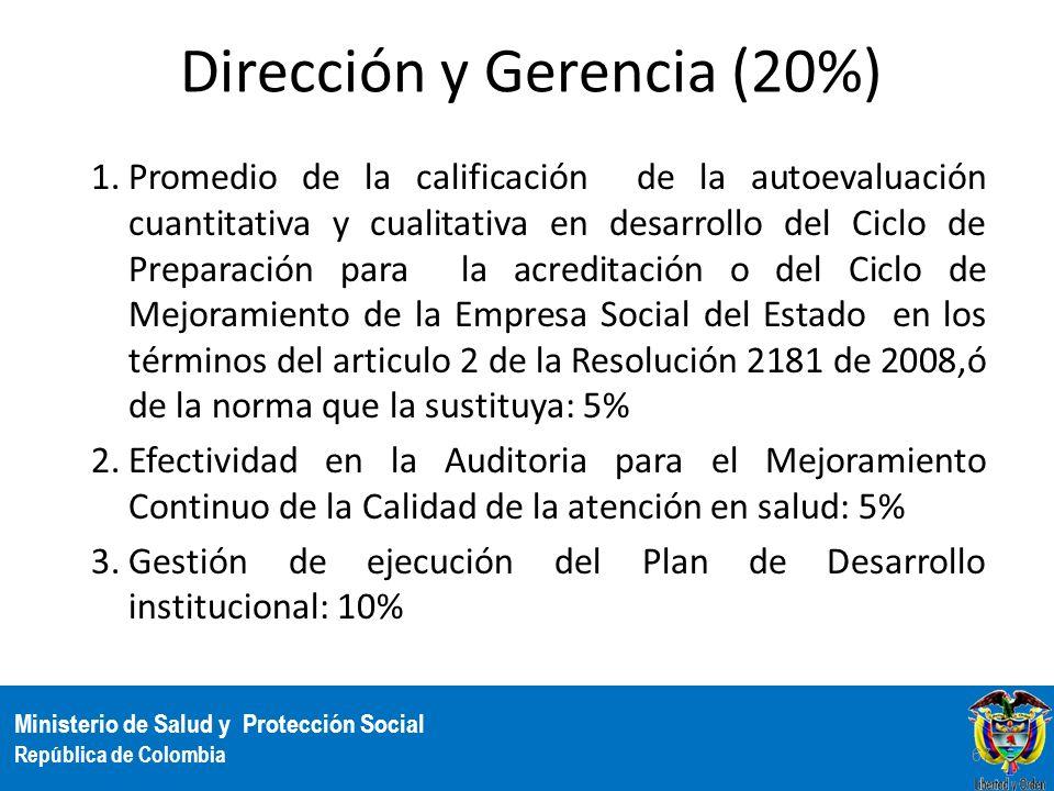 Ministerio de Salud y Protección Social República de Colombia Dirección y Gerencia (20%) 1.Promedio de la calificación de la autoevaluación cuantitati