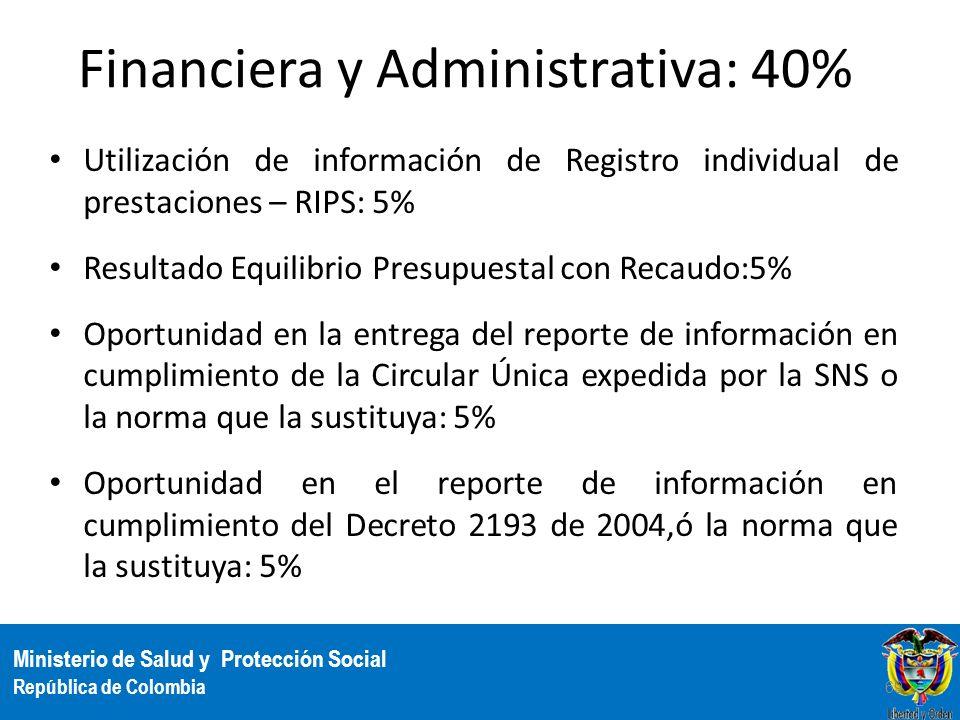 Ministerio de Salud y Protección Social República de Colombia Financiera y Administrativa: 40% Utilización de información de Registro individual de pr