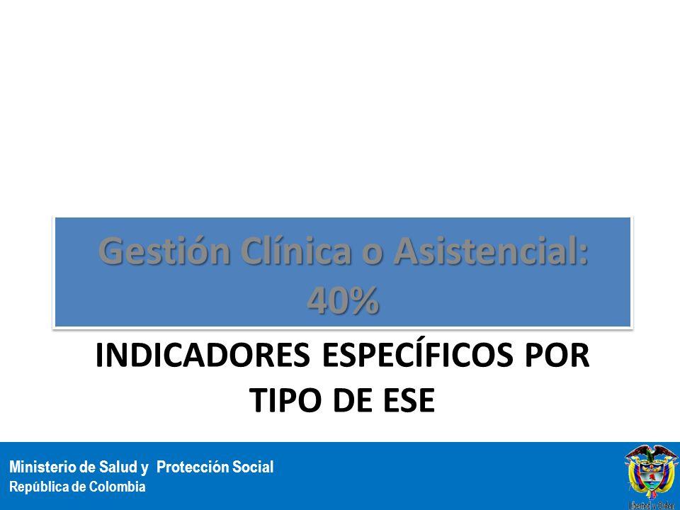 Ministerio de Salud y Protección Social República de Colombia INDICADORES ESPECÍFICOS POR TIPO DE ESE Gestión Clínica o Asistencial: 40% 70