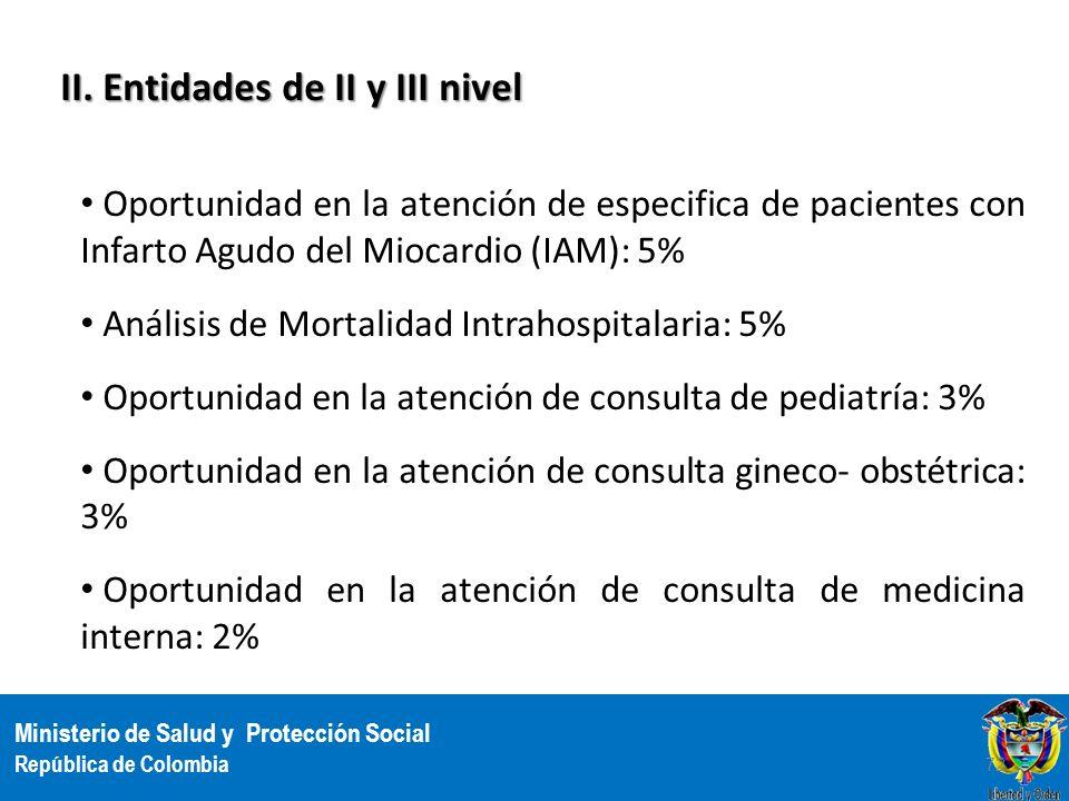 Ministerio de Salud y Protección Social República de Colombia II. Entidades de II y III nivel Oportunidad en la atención de especifica de pacientes co