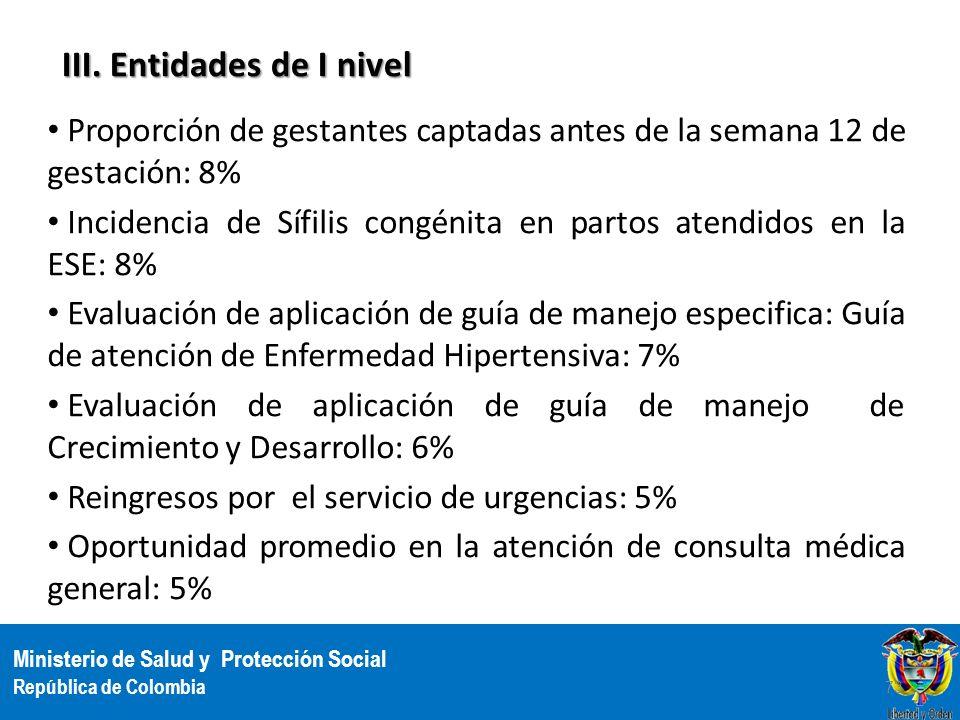 Ministerio de Salud y Protección Social República de Colombia III. Entidades de I nivel Proporción de gestantes captadas antes de la semana 12 de gest