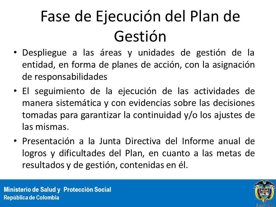 Ministerio de Salud y Protección Social República de Colombia Fase de Ejecución del Plan de Gestión Despliegue a las áreas y unidades de gestión de la