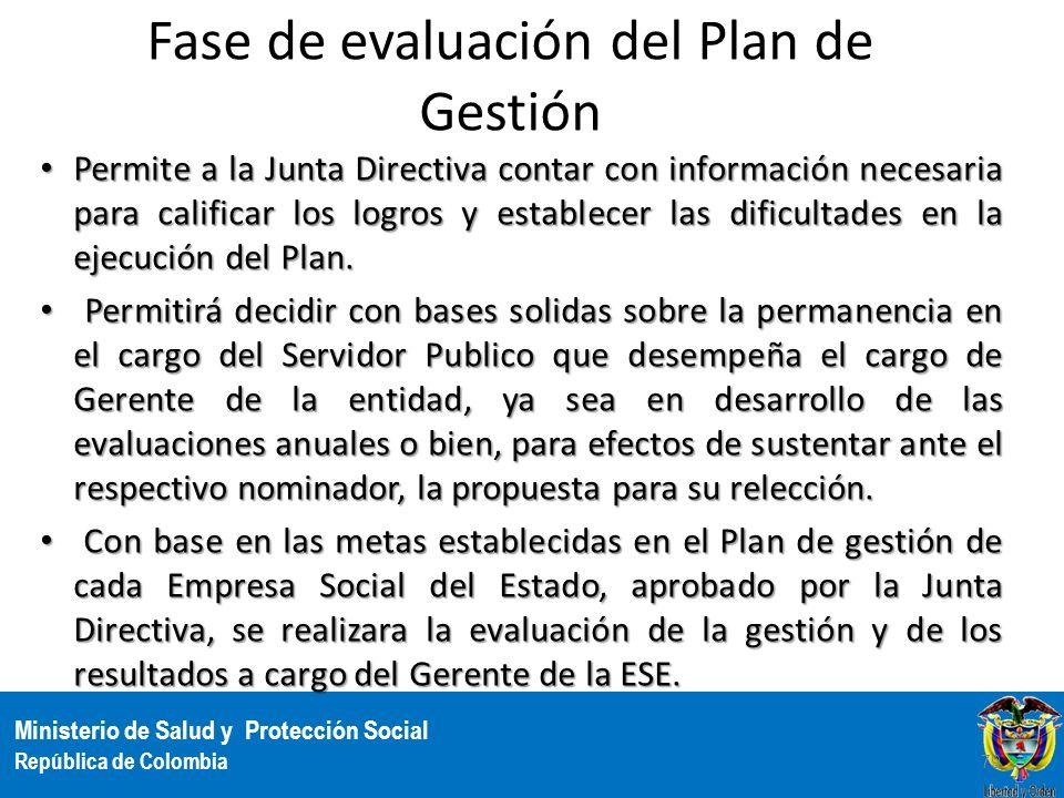 Ministerio de Salud y Protección Social República de Colombia Fase de evaluación del Plan de Gestión Permite a la Junta Directiva contar con informaci