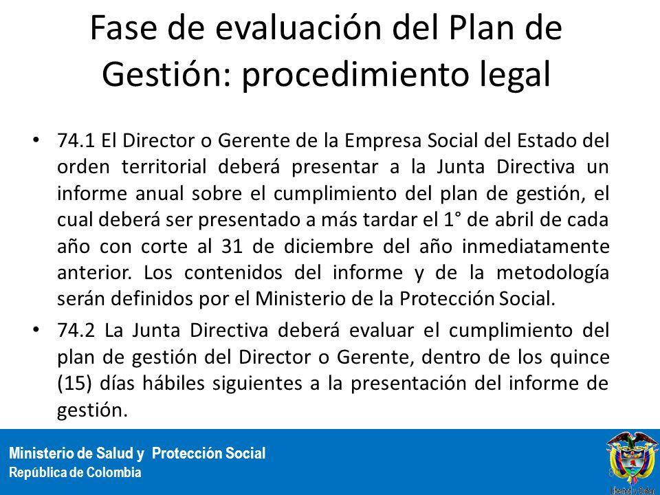 Ministerio de Salud y Protección Social República de Colombia Fase de evaluación del Plan de Gestión: procedimiento legal 74.1 El Director o Gerente d