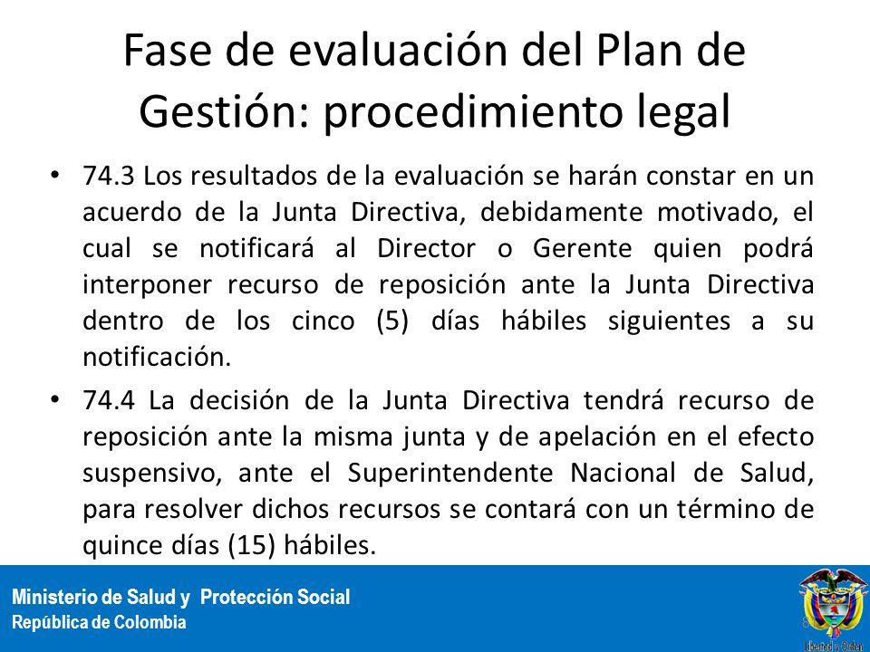 Ministerio de Salud y Protección Social República de Colombia Fase de evaluación del Plan de Gestión: procedimiento legal 74.3 Los resultados de la ev