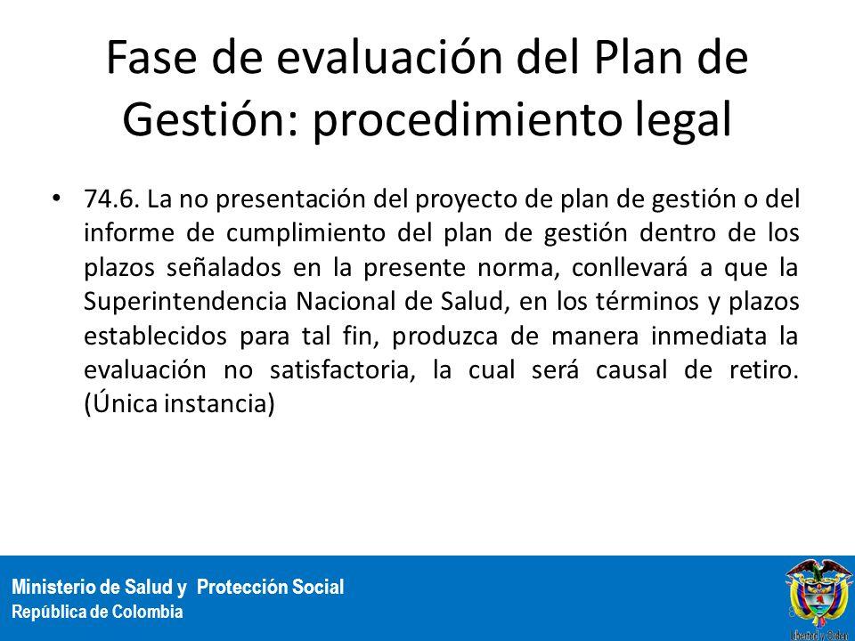 Ministerio de Salud y Protección Social República de Colombia Fase de evaluación del Plan de Gestión: procedimiento legal 74.6. La no presentación del