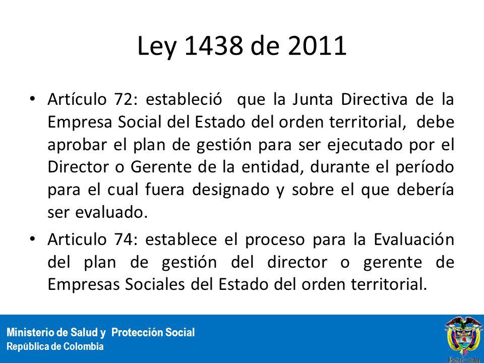 Ministerio de Salud y Protección Social República de Colombia Ley 1438 de 2011 Artículo 72: estableció que la Junta Directiva de la Empresa Social del